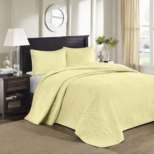 3pc Solid Yellow Quilted Bedspread Set AND Decorative Pillow Shams (Quebec-Yellow-cov)