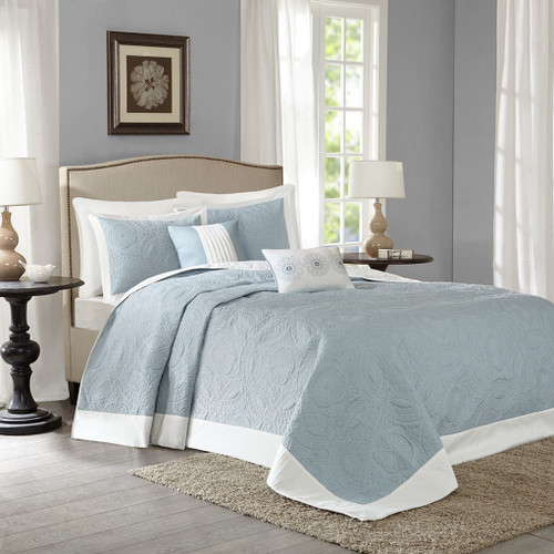 5pc Blue & Ivory Reversible Textured Bedspread Set AND Decorative Pillows (Ashbury-Blue-cov)