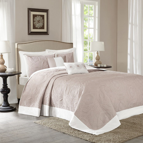 5pc Khaki & Ivory Reversible Textured Bedspread Set AND Decorative Pillows (Ashbury-Khaki-cov)