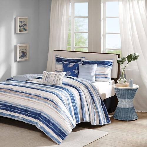 6pc Coastal Blue Stripes Coverlet Quilt Set AND Decorative Pillows (Marina-Blue-cov)