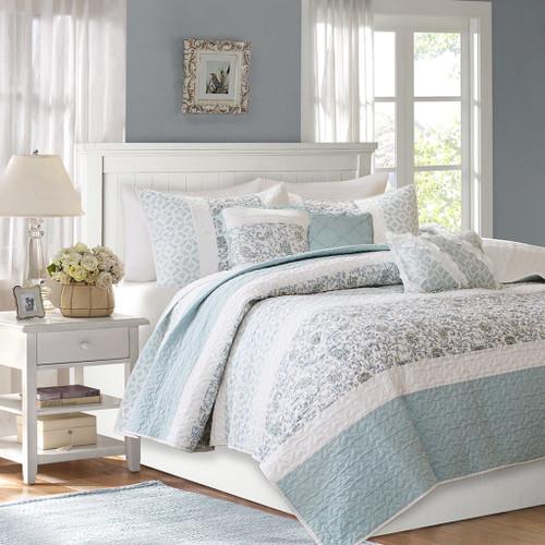 6pc Blue & White Cottage Chic Coverlet Quilt Set AND Decorative Pillows (Dawn-Blue-cov)
