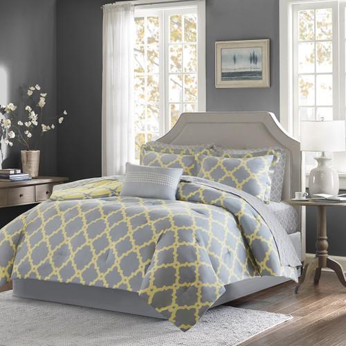 Grey & Yellow Reversible Fretwork Comforter Set AND Matching Sheet Set (Merritt-GreyYellow)