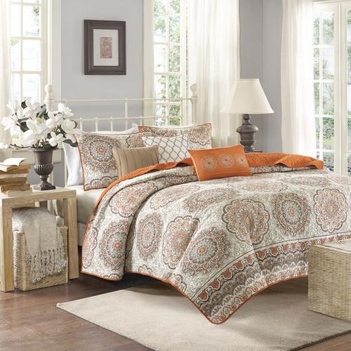 6pc Orange & Taupe Reversible Medallion Coverlet Quilt Set AND Decorative Pillows (Tangiers-Orange-cov)