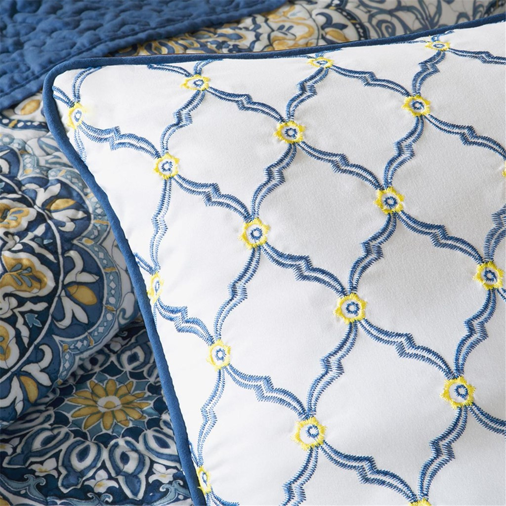 6pc Blue & Yellow Reversible Medallion Coverlet Quilt Set AND Decorative Pillows (Tangiers-Blue-cov)