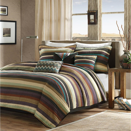 Teal Brown & Taupe Striped Coverlet Quilt Set AND Decorative Pillows (Yosemite-Multi-cov)