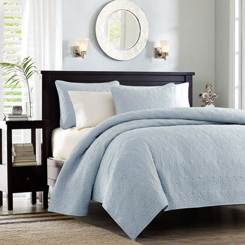Soft Blue Quilted Coverlet Set AND Decorative Pillow Shams (Quebec-Blue-cov-Mini)