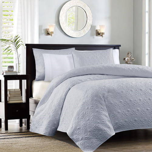 Soft Grey Quilted Coverlet Set AND Decorative Pillow Shams (Quebec-Grey-cov-Mini)