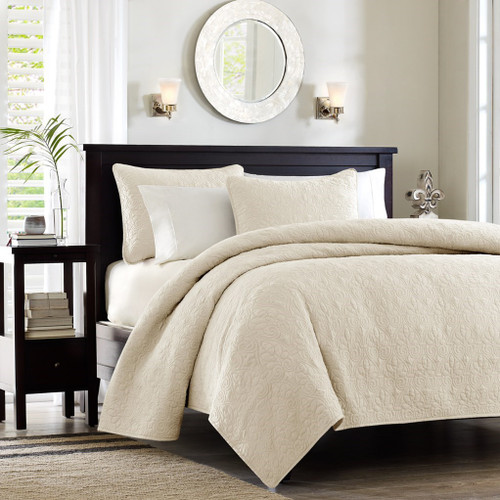 Soft Ivory Quilted Coverlet Set AND Decorative Pillow Shams (Quebec-Ivory-cov-Mini)