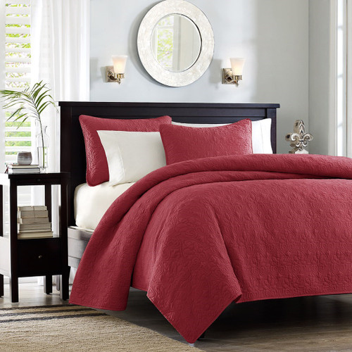 Deep Red Quilted Coverlet Set AND Decorative Pillow Shams (Quebec-Red-cov-Mini)