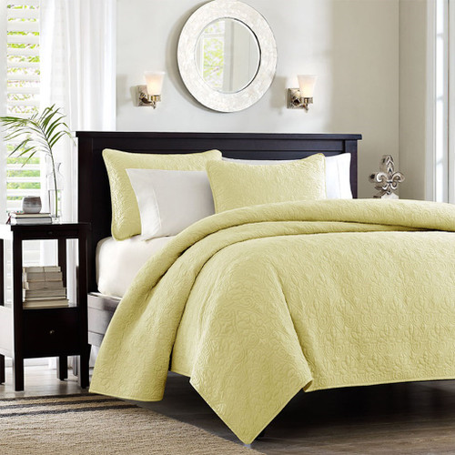 Soft Yellow Quilted Coverlet Set AND Decorative Pillow Shams (Quebec-Yellow-cov-Mini)