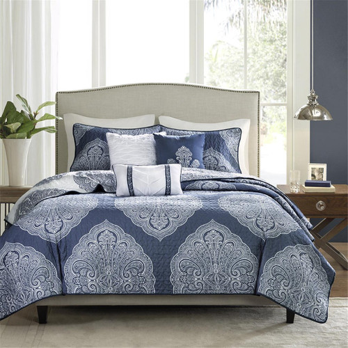6pc Navy Blue & White Medallions Coverlet Quilt Set AND Decorative Pillows (Rachel-Navy-cov)