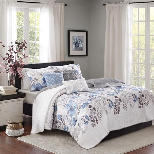 6pc Blue Grey & Ivory Floral Coverlet Quilt Set AND Decorative Pillows (Luna-Blue-cov)