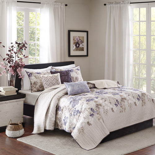 6pc Purple Taupe & Ivory Floral Coverlet Quilt Set AND Decorative Pillows (Luna-Taupe-cov)