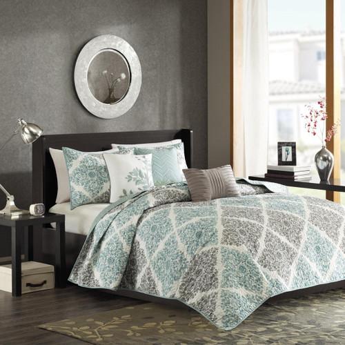 6pc Aqua & Grey Leaf Diamond Coverlet Quilt Set AND Decorative Pillows (Claire-Aqua-cov)