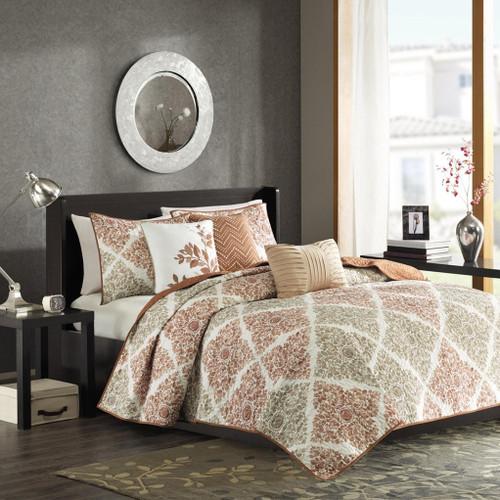6pc Orange & Brown Leaf Diamond Coverlet Quilt Set AND Decorative Pillows (Claire-Orange-cov)