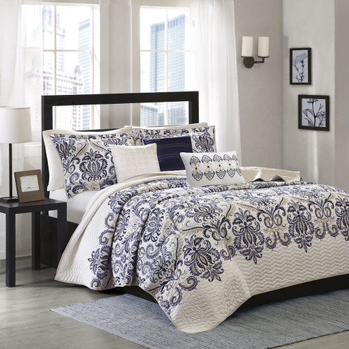 6pc Navy Blue & Grey Paisley Coverlet Quilt Set AND Decorative Pillows (Cali-Blue-cov)