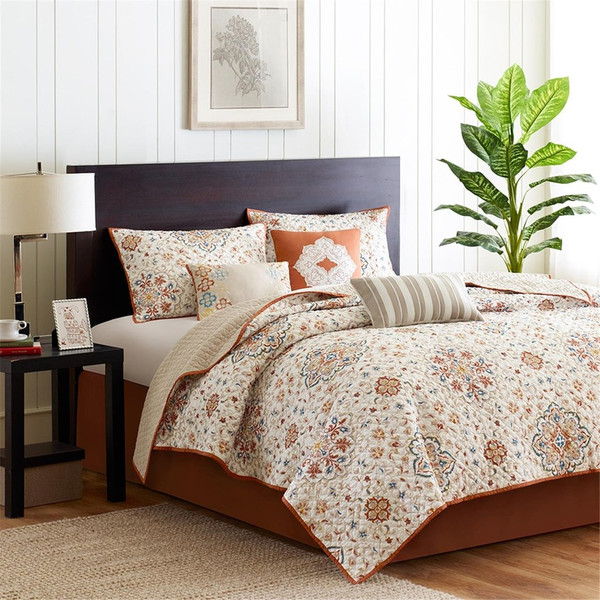 6pc Ivory & Rustic Orange Coverlet Quilt Set AND Decorative Pillows (Tissa-Ivory-cov)