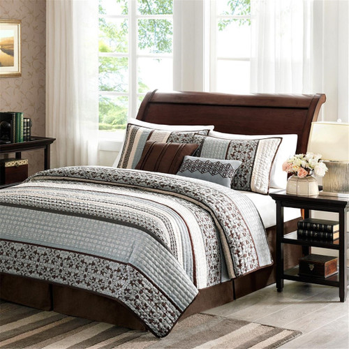 5pc Blue & Brown Geometric Stripes Coverlet Quilt Set AND Decorative Pillows (Princeton-Blue-cov)
