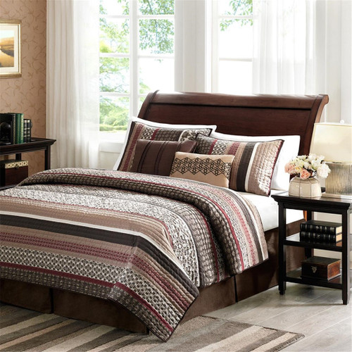 5pc Brown & Red Geometric Stripes Coverlet Quilt Set AND Decorative Pillows (Princeton-Red-cov)