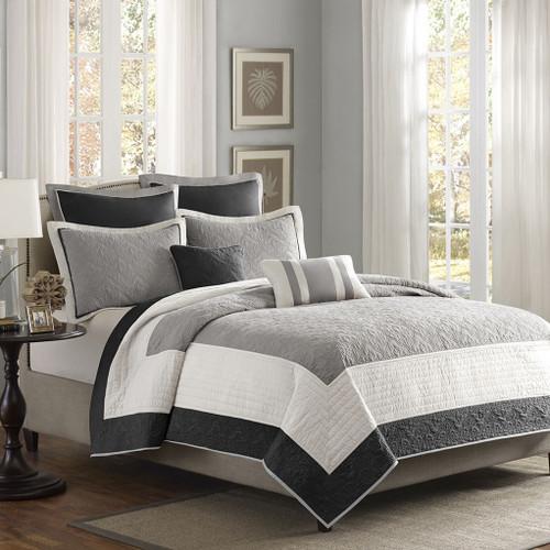 7pc Black & Grey Colorblock Coverlet Quilt Set AND Decorative Pillows (Attingham-Black-cov)