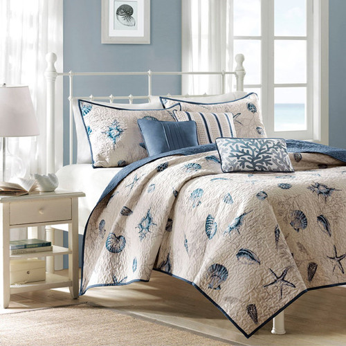 Coastal Blue & Taupe Coverlet Quilt Set AND Decorative Pillows (Bayside-Blue-cov)