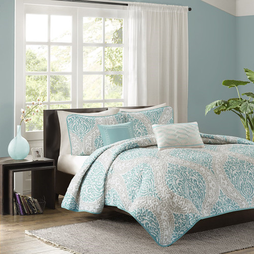 Aqua & Grey Damask Print Coverlet Quilt Set AND Decorative Pillows (Senna-Aqua-cov)