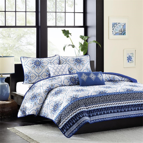 Blue & White with Grey Accents Coverlet Quilt Set AND Decorative Pillows (Cassy-Blue-cov)