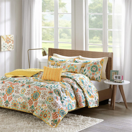 Yellow & Orange Floral Medallion Coverlet Quilt Set AND Decorative Pillows (Nina-Multi-cov)