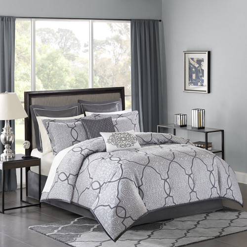 12pc Silver Grey Jacquard Woven Comforter Set AND Sheet Set (Lavine-Silver)