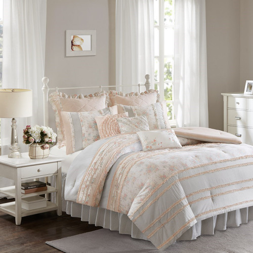 Soft Coral & Grey Floral Ruffled Comforter AND Decorative Pillows