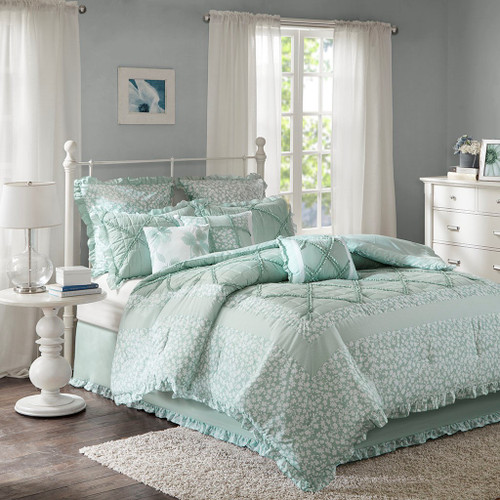 9pc Seafoam & White Floral Ruffled Comforter AND Decorative Pillows (Mindy-Seafoam)