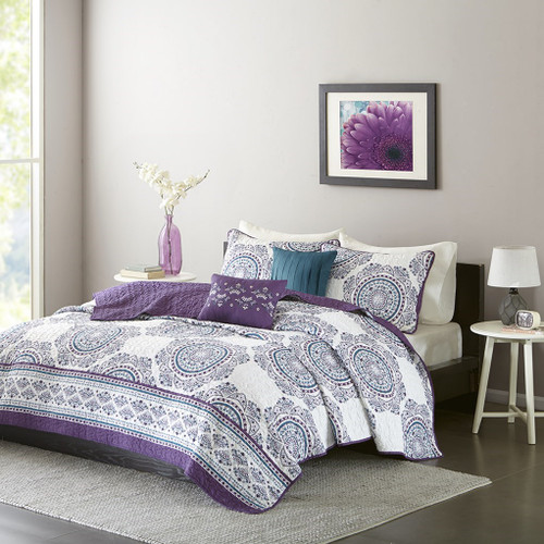 Purple Teal & White Medallion Coverlet Quilt Set AND Decorative Pillows (Anika-Purple-cov)