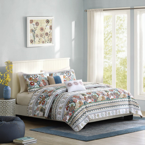 Multi-Color Medallions & Stripes Reversible Coverlet Quilt Set AND Decorative Pillows (Tamira-Multi-cov-ID)