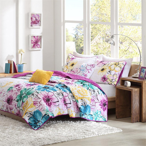 Bright Purple Blue & Yellow Floral Reversible Coverlet Quilt Set AND Decorative Pillows (Olivia-Blue-cov)