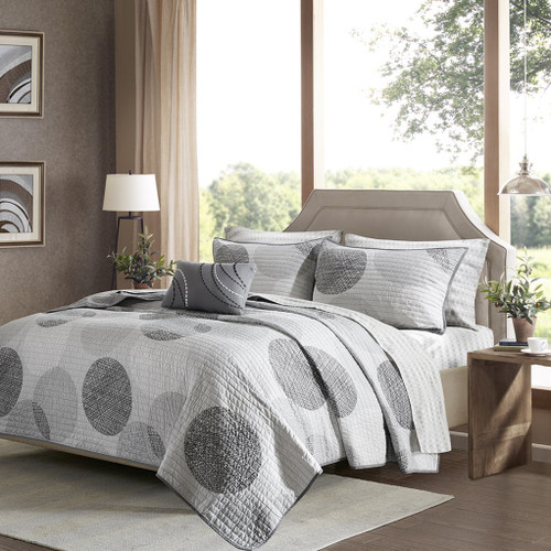 Soft Greys & White Circle Print Coverlet Quilt Set AND Matching Sheet Set (Knowles-Grey-Cov)
