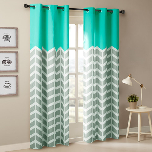 Aqua Grey & White Chevron Print Curtains Pair - Foam Back Lining & Grommet Top (Alex-Aqua-window)