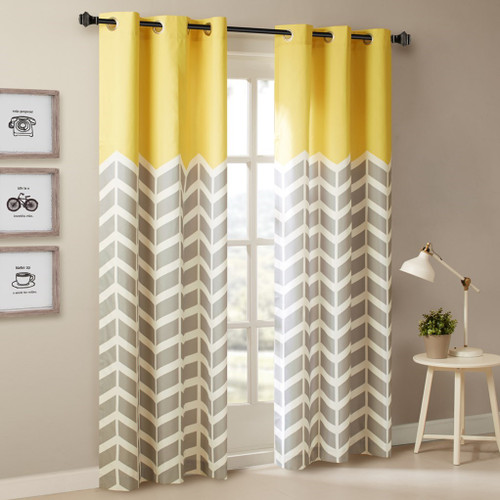 Yellow Grey & White Chevron Print Curtains Pair - Foam Back Lining & Grommet Top (Alex-Yellow-window)