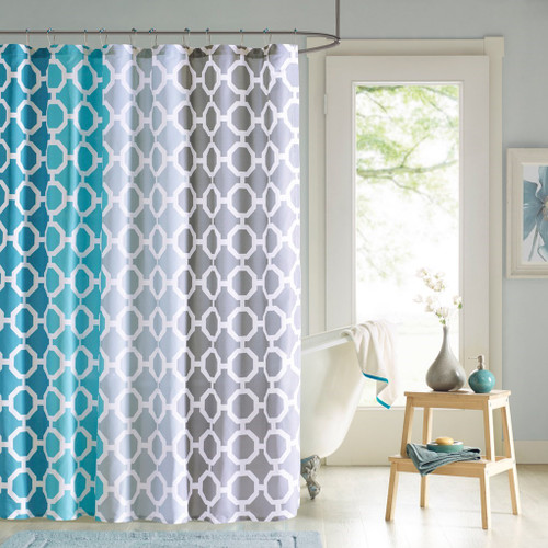 "Teal Blue Grey & White Geometric Fabric Shower Curtain & Hooks - 72"" x 72"" (Dani-Teal-shower)"
