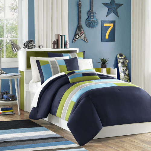 Blue & Green Colorblock Comforter Set AND Decorative Pillow (Pipeline-Navy)