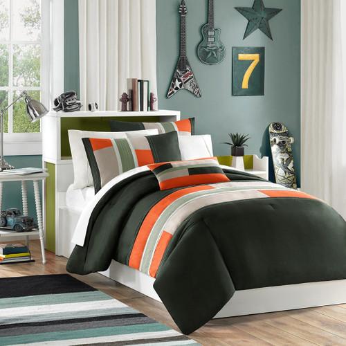 Orange & Taupe Colorblock Comforter Set AND Decorative Pillow (Pipeline-Olive)