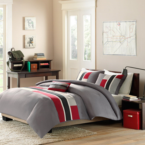 Grey & Red Colorblock Comforter Set AND Decorative Pillow (Pipeline-Red)