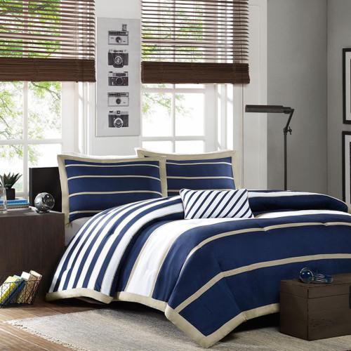 Navy Khaki & White Striped Comforter Set AND Decorative Pillow (Ashton-Navy)