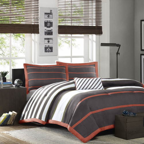 Orange & Grey Striped Comforter Set AND Decorative Pillow (Ashton-Orange/Grey)