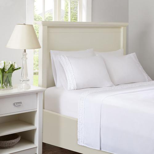White Microfiber Sheet Set w/Ruffles AND Extra Pillowcases (Ruffled Sheets - White)