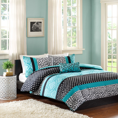 Teal Blue & White Polka Dots Comforter Set AND Decorative Pillow (Chloe-Teal-comf)