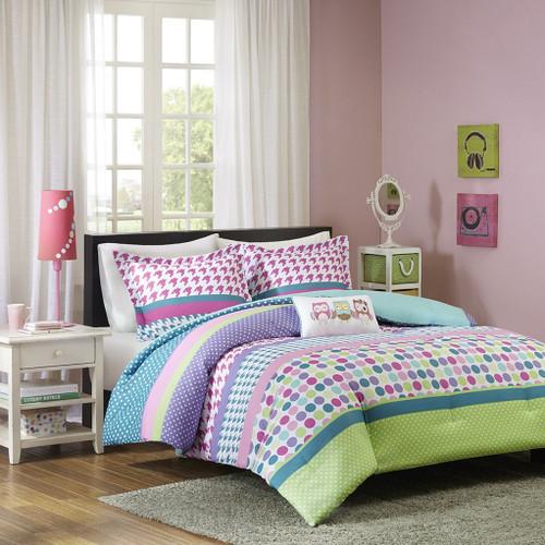 Bright Colors Polka Dots & Stripes Comforter Set AND Decorative Pillow (Katie-Aqua)