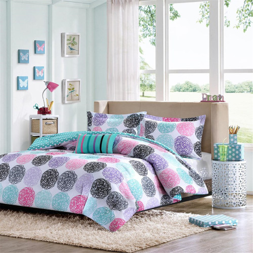 Purple Pink & Teal Large Polka Dots Comforter Set AND Decorative Pillow (Carly-Purple-comf)