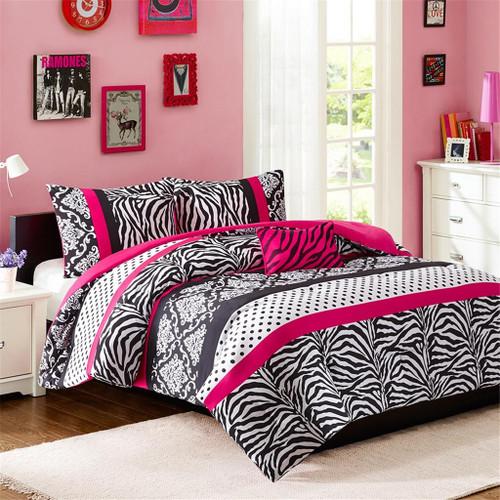 Hot Pink White & Black Dots & Stripes Comforter Set AND Decorative Pillow (Reagan-Pink-comf)