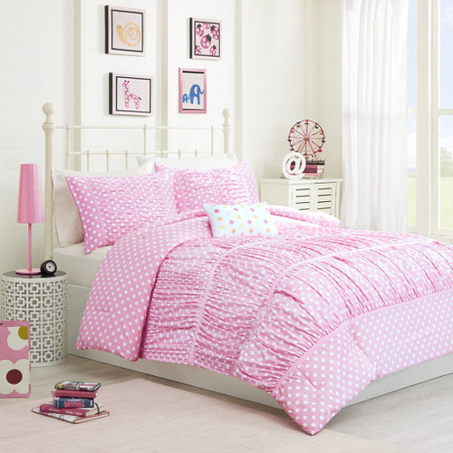 Girls Pink & White Polka Dots Comforter Set AND Decorative Pillow (Lia-Pink)