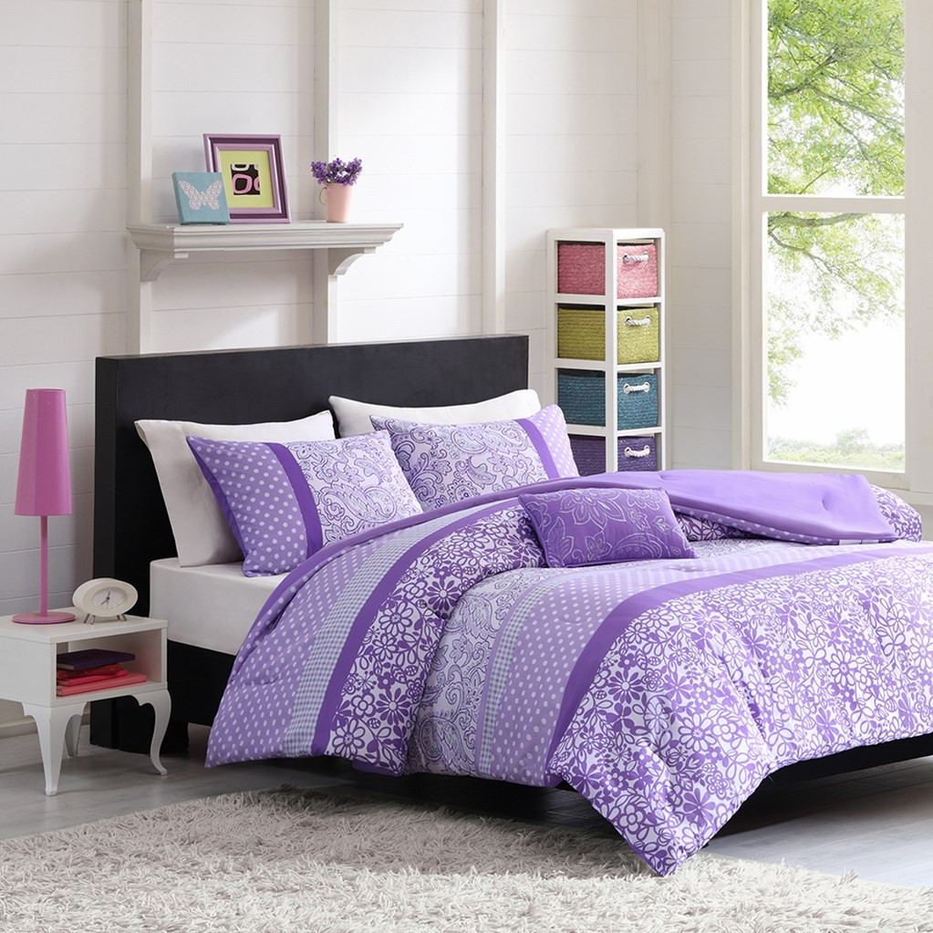 Purple & White Polka Dots with Paisley Comforter Set AND Decorative Pillow (Riley-Purple-comf)